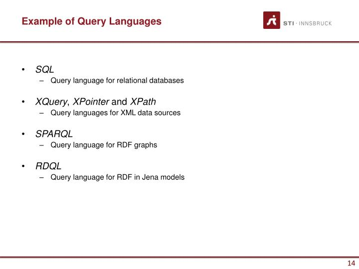 Example of Query Languages
