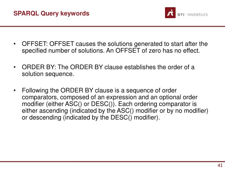 SPARQL Query keywords