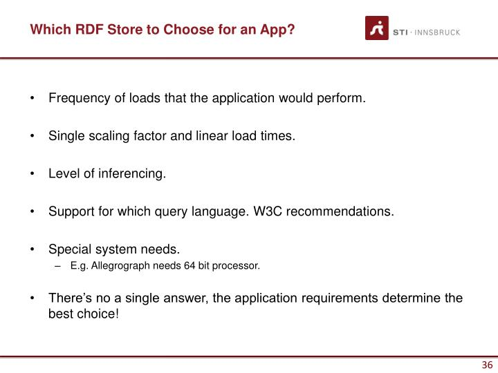 Which RDF Store to Choose for an App?