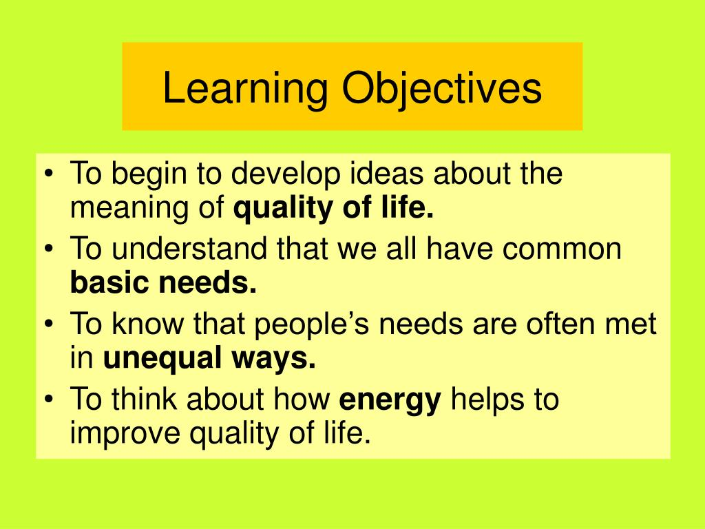 PPT - Thinking about quality of life PowerPoint Presentation
