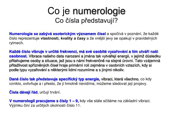 Co je numerologie co sla p edstavuj
