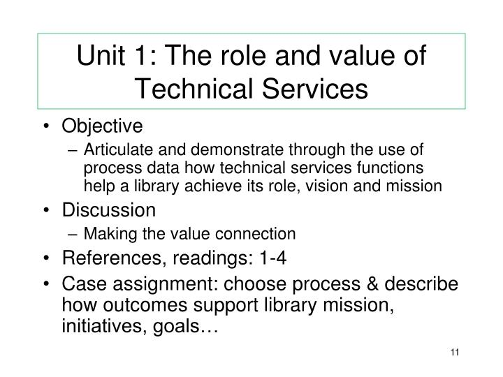 Unit 1: The role and value of Technical Services
