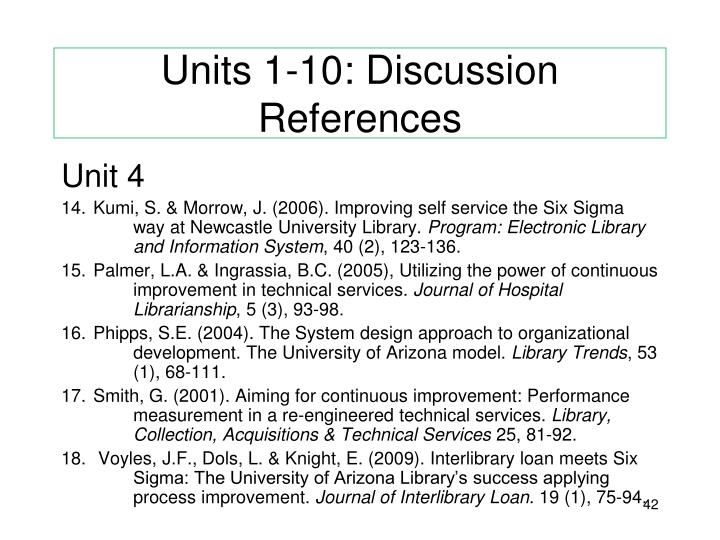 Units 1-10: Discussion References