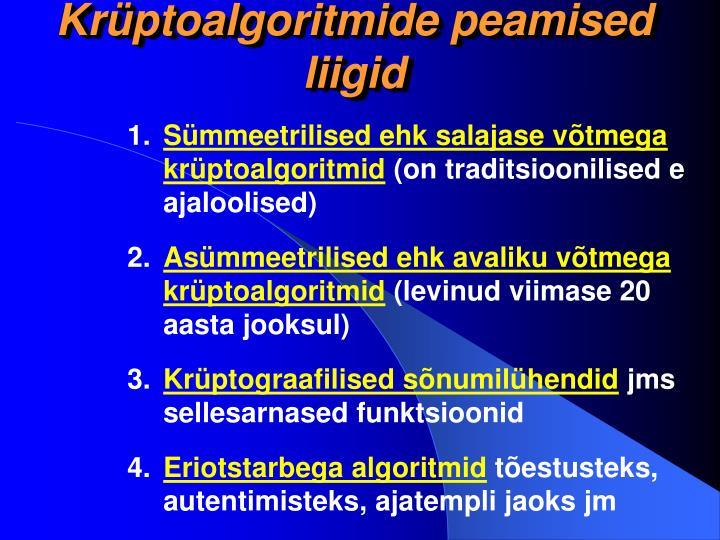 Krüptoalgoritmide peamised liigid