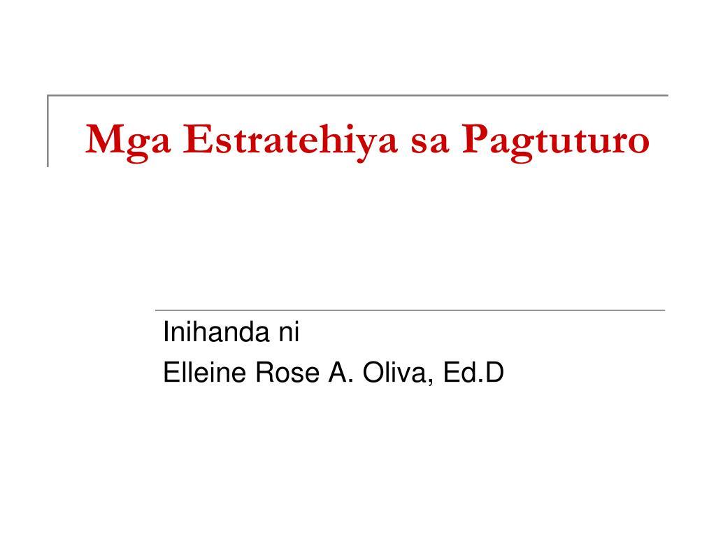 Estratehiya sa pagtuturo ng filipino k-12