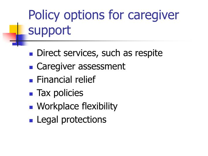 Policy options for caregiver support