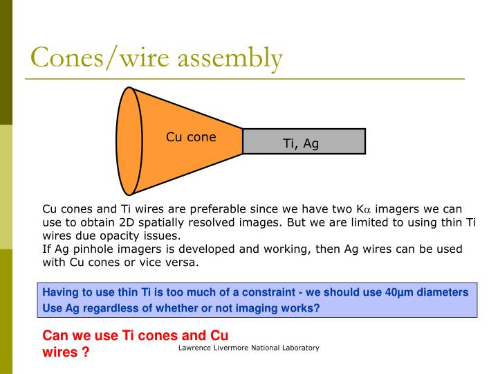 Cones/wire assembly