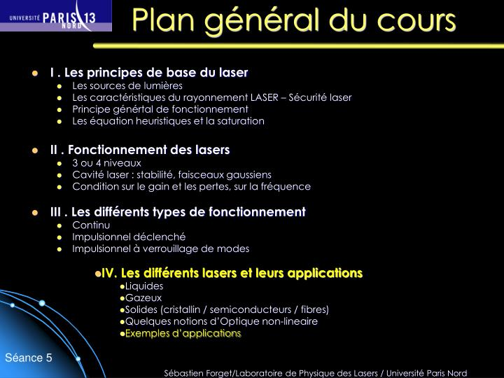 Plan g n ral du cours