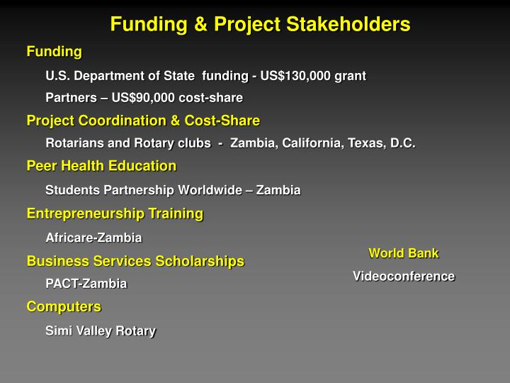 Funding & Project Stakeholders
