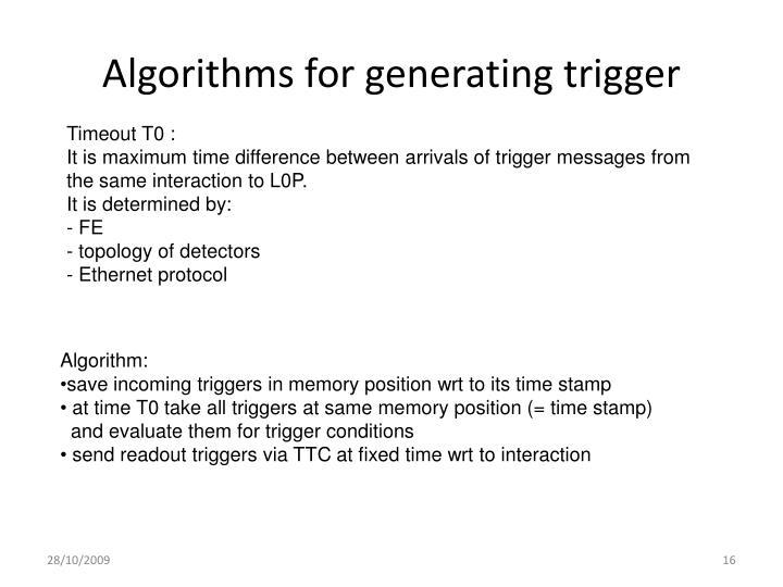 Algorithms for generating trigger