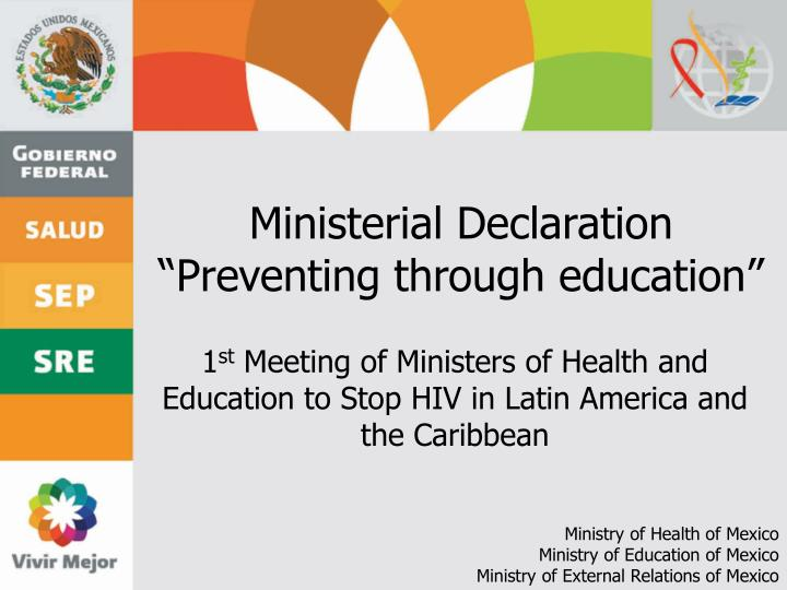 Ministerial declaration preventing through education