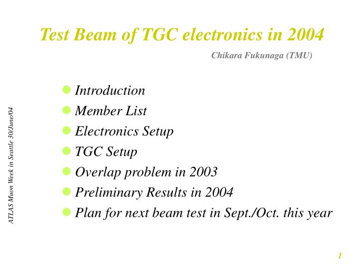 test beam of tgc electronics in 2004 n.