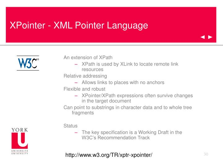 XPointer - XML Pointer Language