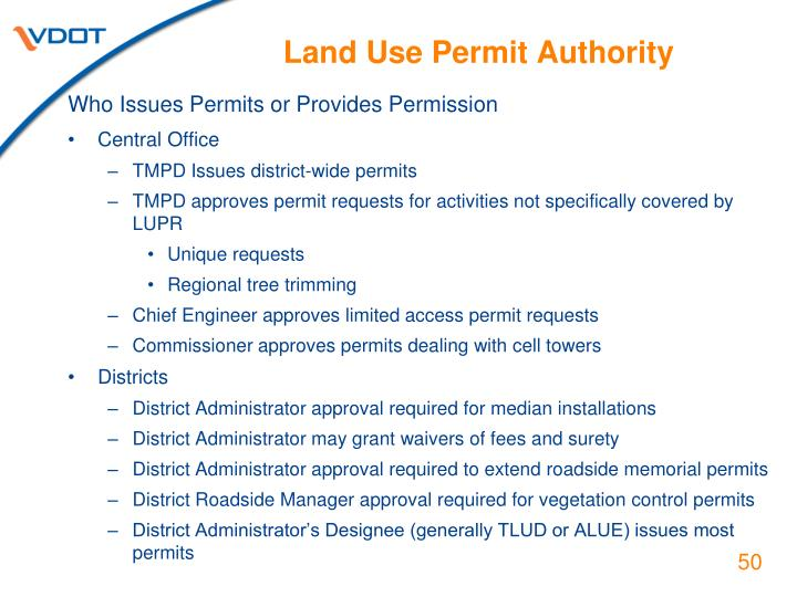 Land Use Permit Authority