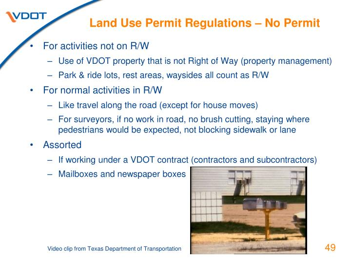 Land Use Permit Regulations – No Permit