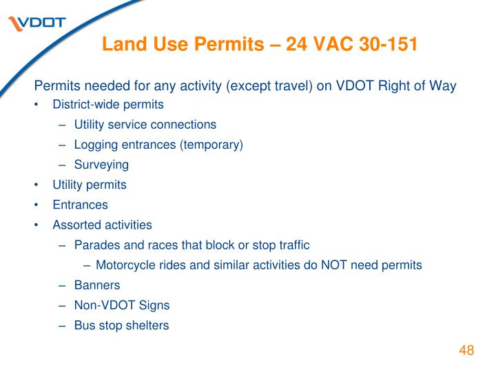 Land Use Permits – 24 VAC 30-151