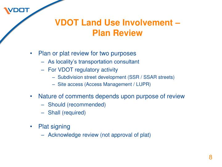 VDOT Land Use Involvement –