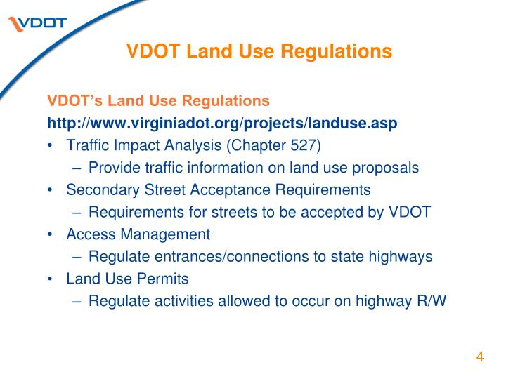 VDOT Land Use Regulations