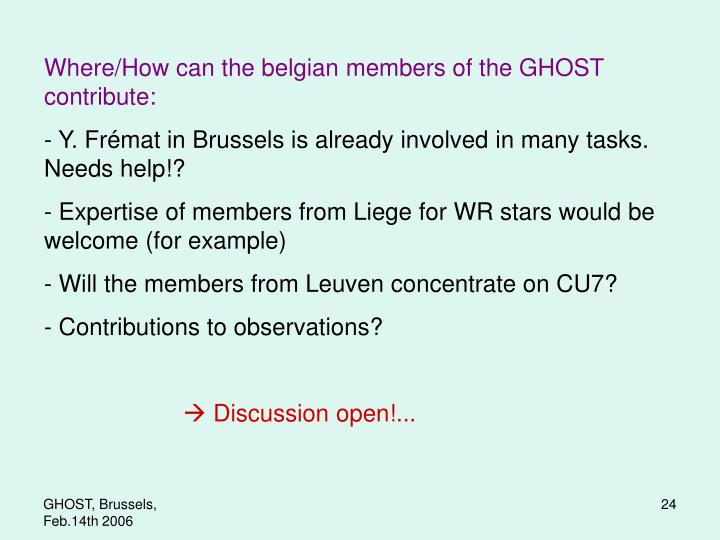 Where/How can the belgian members of the GHOST contribute:
