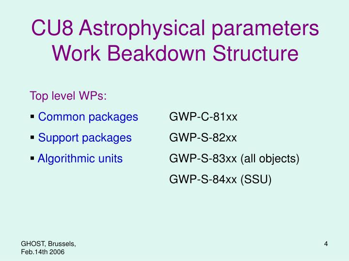 CU8 Astrophysical parameters