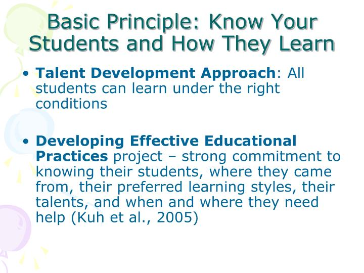 Basic Principle: Know Your Students and How They Learn
