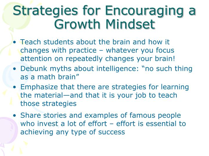 Strategies for Encouraging a Growth Mindset