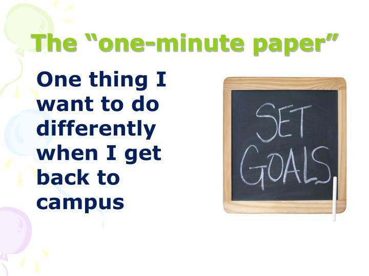 "The ""one-minute paper"""
