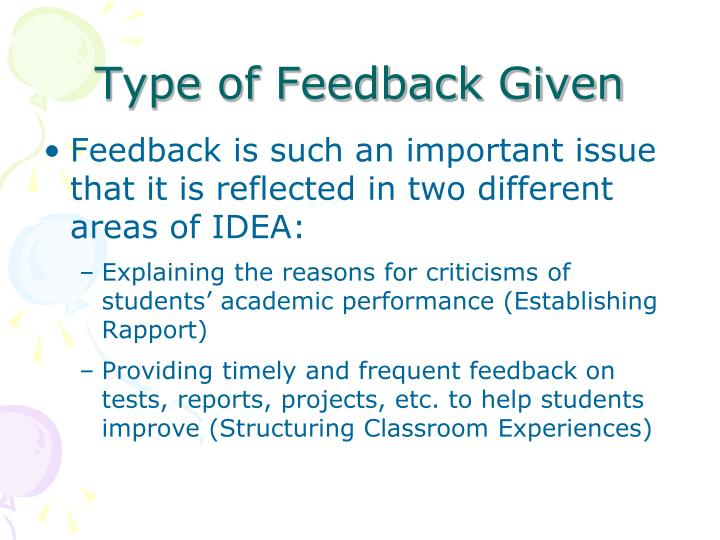 Type of Feedback Given