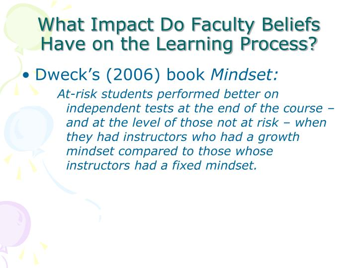 What Impact Do Faculty Beliefs Have on the Learning Process?
