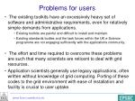 problems for users