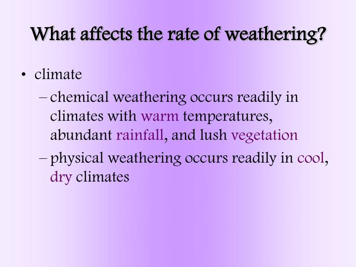 What affects the rate of weathering?