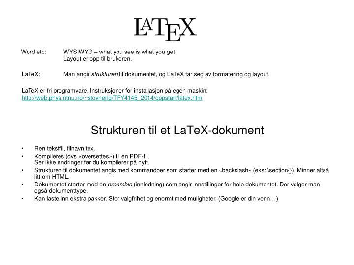 Strukturen til et latex dokument