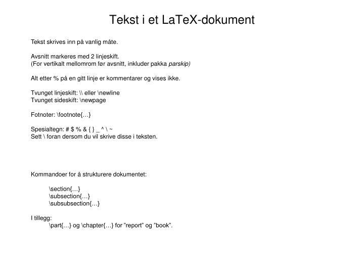 Tekst i et LaTeX-dokument
