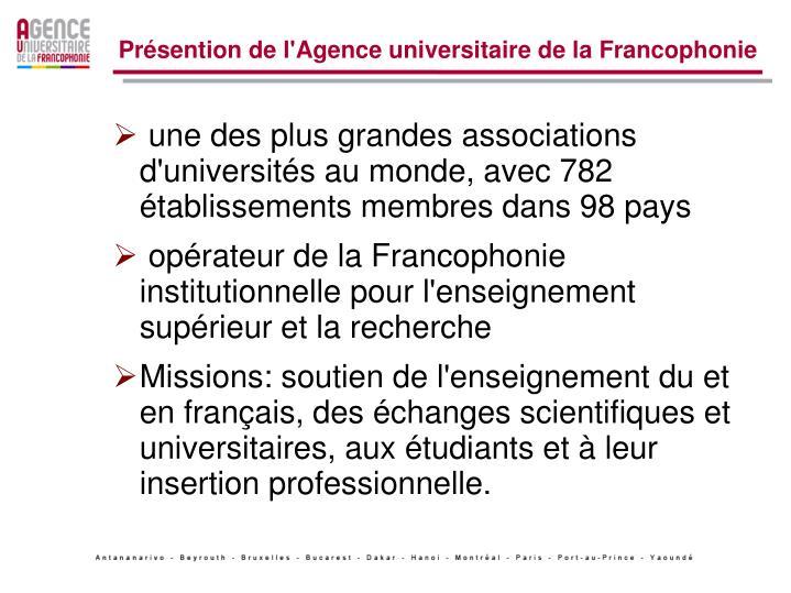 Présention de l'Agence universitaire de la Francophonie