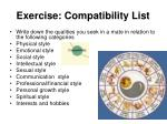 exercise compatibility list