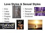 love styles sexual styles