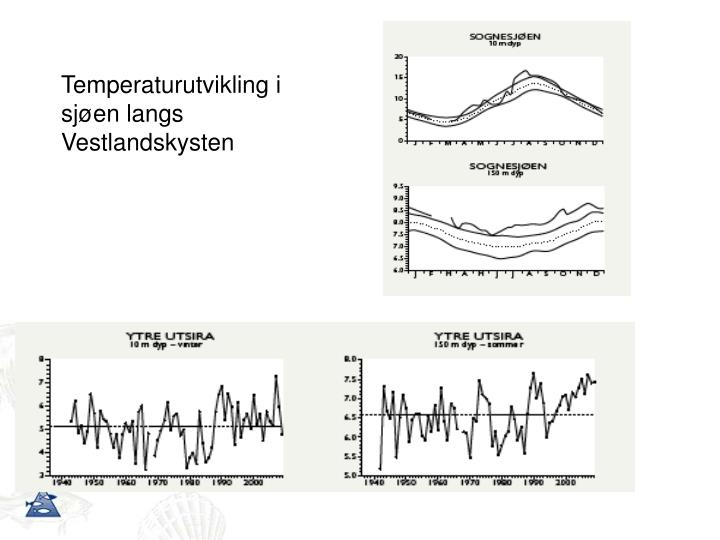 Temperaturutvikling i sjøen langs Vestlandskysten