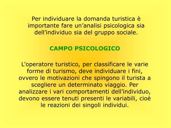 Per individuare la domanda turistica è importante fare un'analisi psicologica sia dell'individuo sia del gruppo sociale.