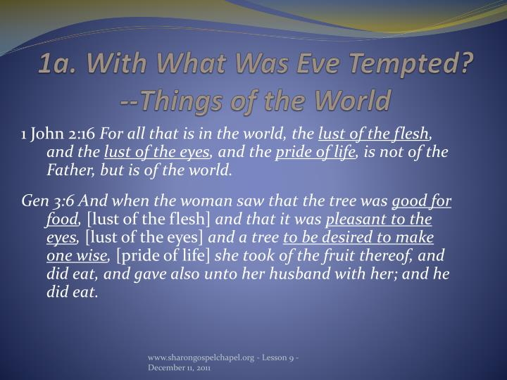1a. With What Was Eve Tempted?