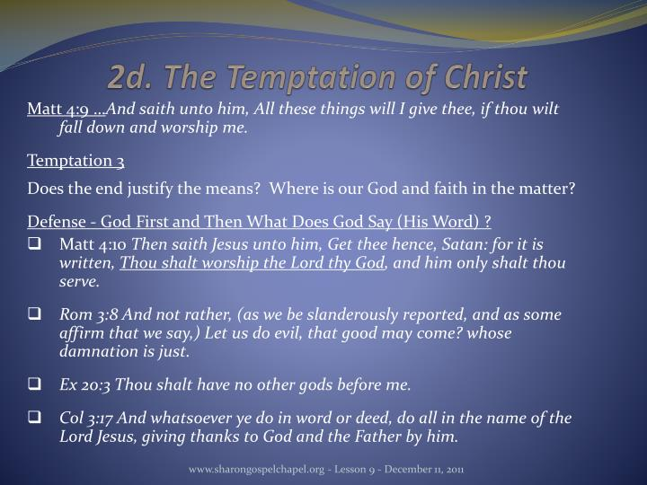 2d. The Temptation of Christ
