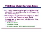 thinking about foreign keys