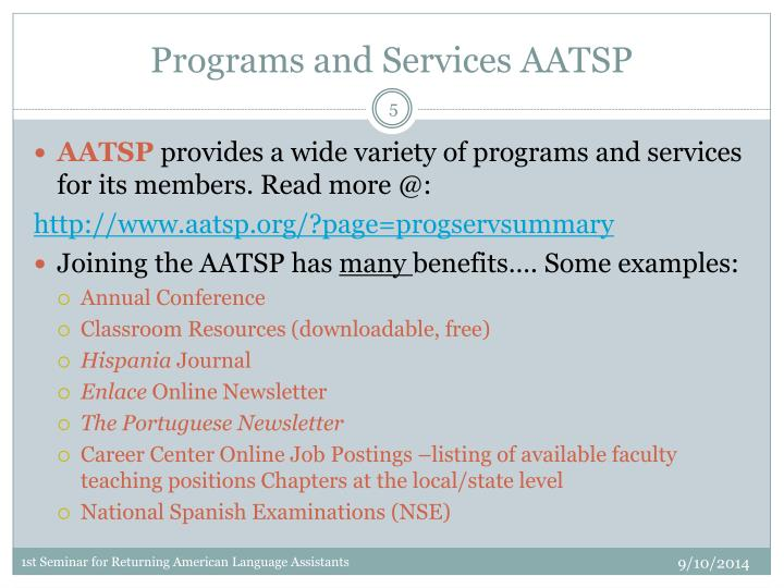 Programs and Services AATSP