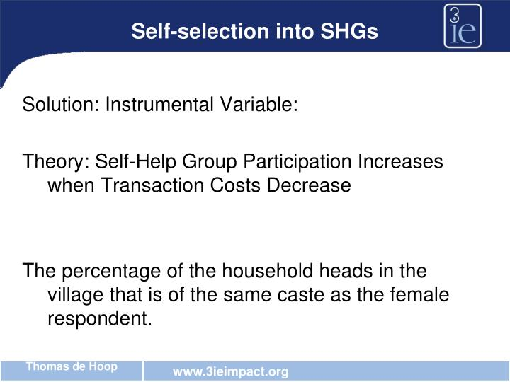 Self-selection into SHGs