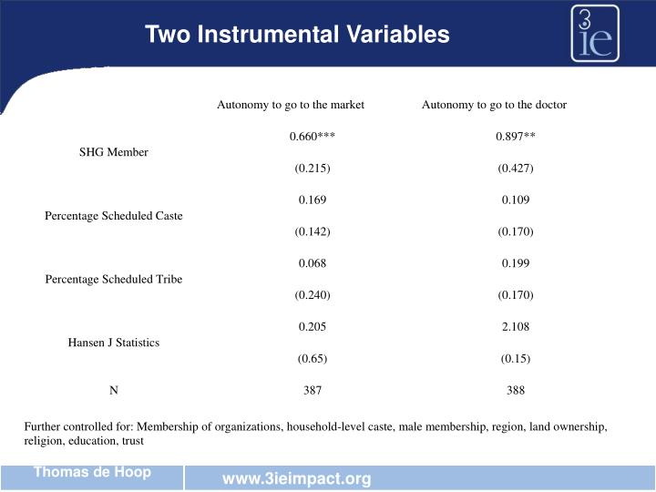 Two Instrumental Variables