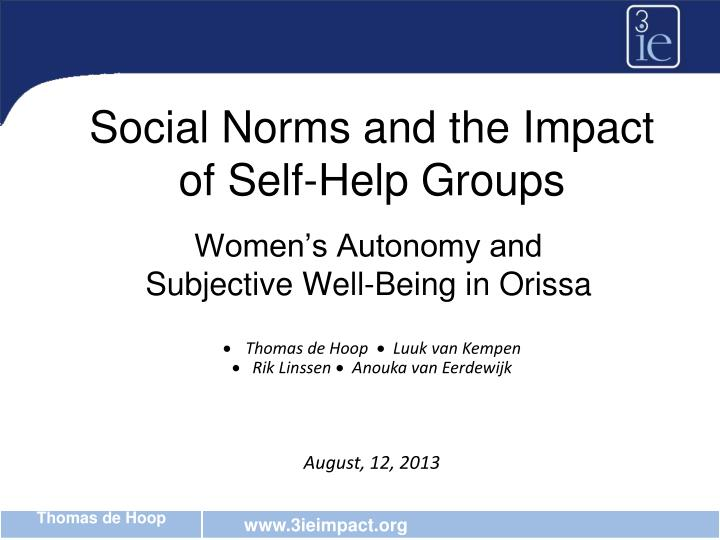 Social norms and the impact of self help groups