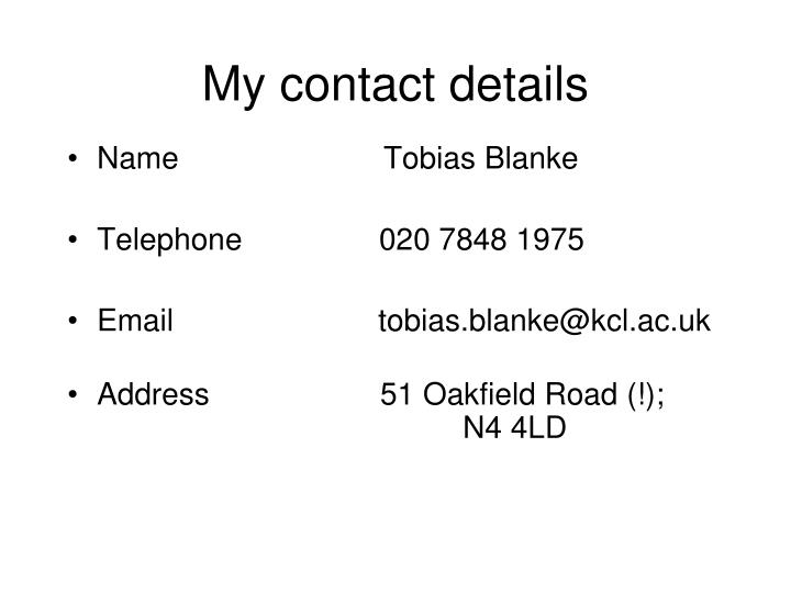 My contact details