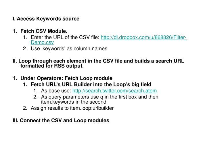 I. Access Keywords source