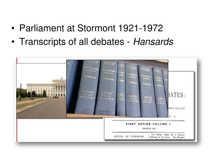 Parliament at Stormont 1921-1972