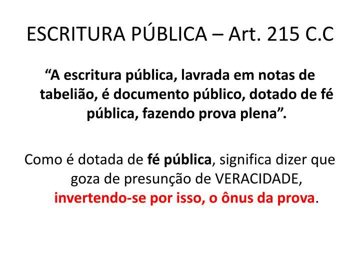 Escritura p blica art 215 c c