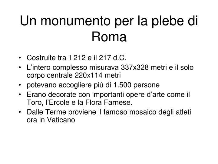 Un monumento per la plebe di Roma